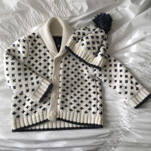 Baby Gap Cardigan Sweater and Hat with Plus Signs